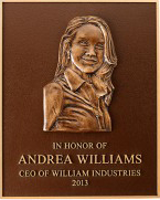 Precision tooled bronze, bas relief image, brushed finish, single line border, brown sand texture.