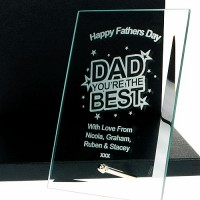Best Dad Engraved Glass Plaque
