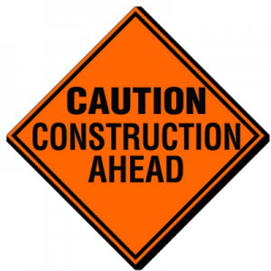 Caution Construction Ahead Road Sign