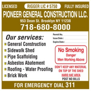 NYC General Contractor Sign