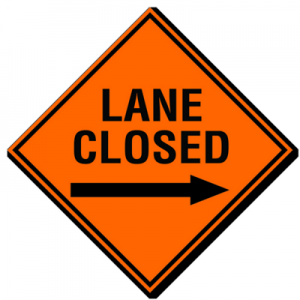 Lane Closed Contractor Sign